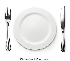 Photo of the fork and knife with white plate on white...