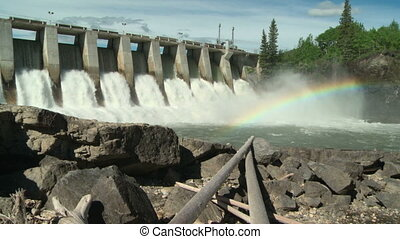 Hydro Dam with Rainbow ws 03 - Rainbow on the Kananaskis...
