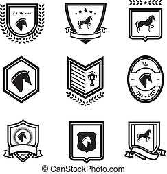 horse badges emblems equestrian vector illustration black