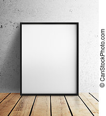 blank frame hanging on wall