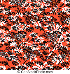 Pattern with tropical trees and leaves