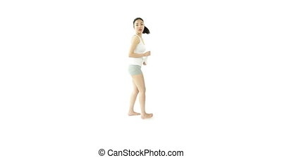 sport girl isolated on white confused the question mark sign