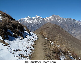 Foot-path from Muktinath to Jomosom, Nepal