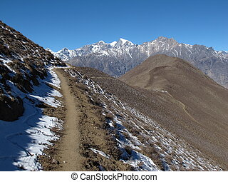 Foot-path from Muktinath to Jomosom, autumn scene