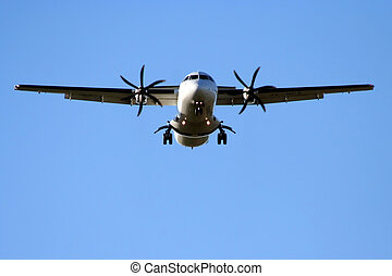 Prop Aircraft Landing - Propeller Aircraft preparing to land...