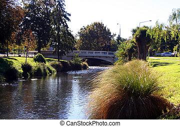 Bridge over the Avon river - taken in Christchurch, New...
