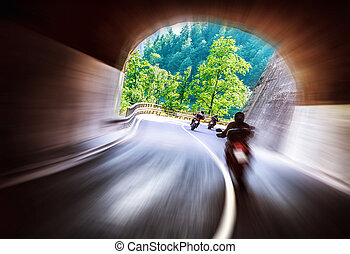 Bikers tour along Europe - Group of bikers touring along...