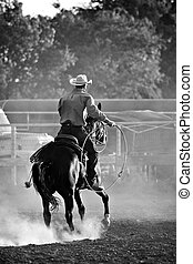 cowboy in rodeo - cowboy with lasso on horse at a rodeo,...