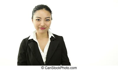 asian business woman isolated on white looking to hire -...