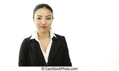 asian business woman isolated on white gratefull with thanks...