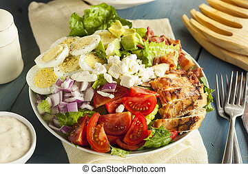 Healthy Hearty Cobb Salad with Chicken Bacon Tomato Onions...