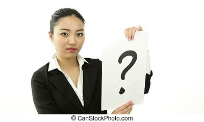 asian business woman isolated on white confused with qestion mark sign