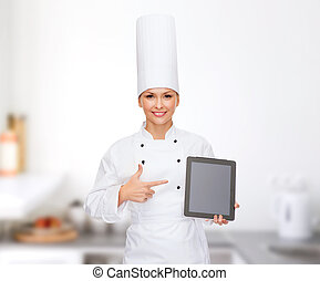 smiling female chef with tablet pc blank screen - cooking,...