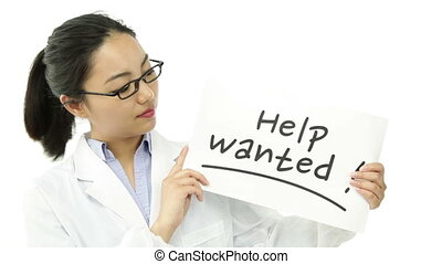 scientist doctor isolated on white with help wanted sign -...