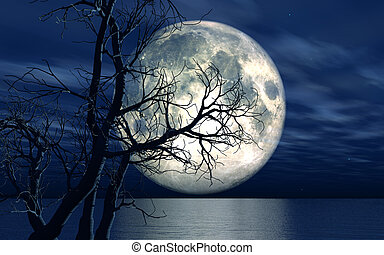 3D landscape background with moon and tree - 3D landscape...