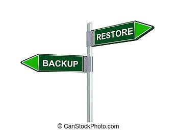 3d backup restore road sign - 3d illustration of backup and...