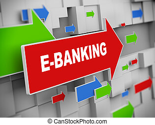 3d moving arrow - E-banking - 3d illustration of moving...