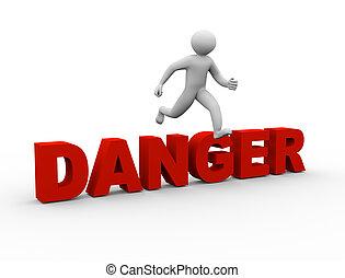 3d man jumping over danger