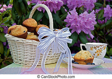 Summer Serenity - Blueberry muffins in basket with vintage...