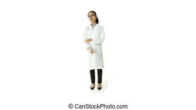 scientist doctor isolated on white upset with arms crossed -...