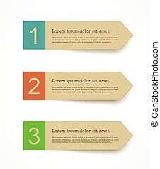 recycled paper label set with infographic steps