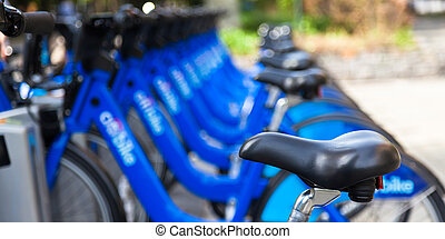Bike rental station in new york city - USA