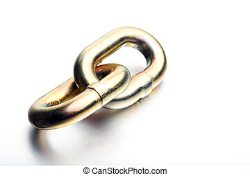 chain link high-key - a single, heavy golden industrial link...