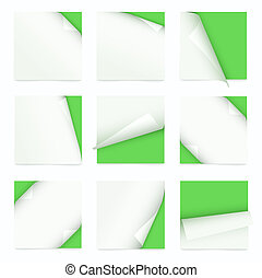 set of note paper with curled corner - green set of note...