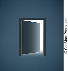 Open door with white light in a dark room