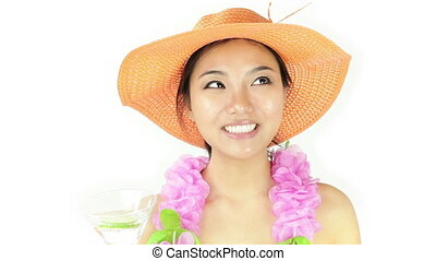 Attractive asian woman on white - Attractive asian woman...