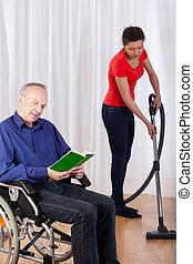 pielęgnować, porcja, niepełnosprawny, czyszczenie