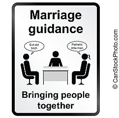 Marriage Guidance Information Sign - Monochrome comical...