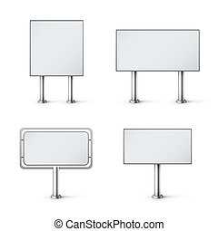 set of blank realistic billboards eps10 vector illustration