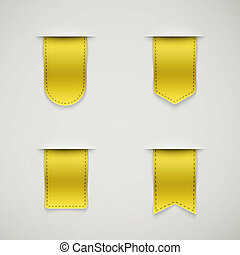 set of yellow ribbons different shapes