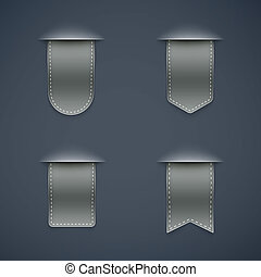 set of gray ribbons different shapes