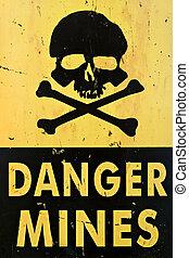 peligro, minas, advertencia, señal, Primer plano