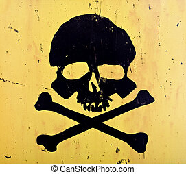 skull and crossbones from an aged sign