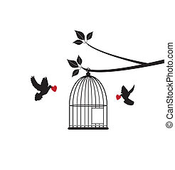 Doves - vector doves with red hearts, cage open