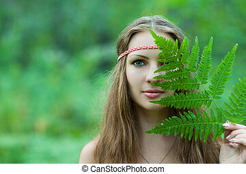 Pagan girl closes her eyes fern - Slavic pagan girl closes...