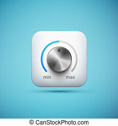 white app icon with music volume control knob, realistic...