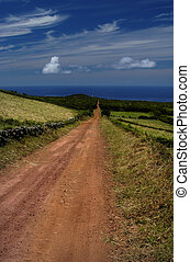 azores - big red road in azores island of sao jorge