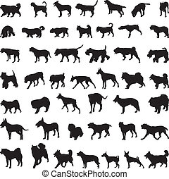 Dogs silhouettes - Various breeds many dogs black...