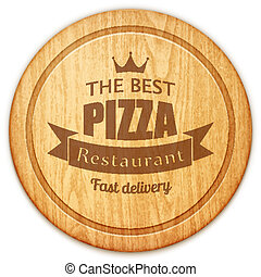empty round cutting board with pizza restaurant label eps10...