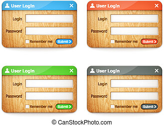 set of colorful wooden login forms