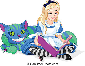 Alice and Cheshire Cat - Wonderland Alice reading a book and...