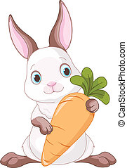 Bunny with Carrot  - Cute bunny holding a large carrot.