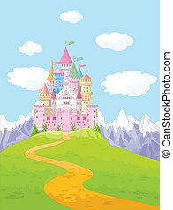 Castle Landscape - Magic Princess Castle on the hill