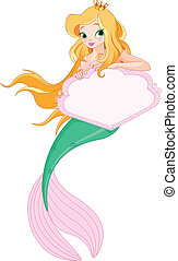 Cute Mermaid holding sign - Cute Mermaid holding blank sign