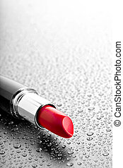 lipstick closeup with desatured water drops