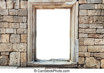 wall of stones with insulated window In the blank space, you...